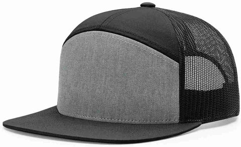 Richardson 7 Panel High Crown Trucker Cap Heather Grey Black