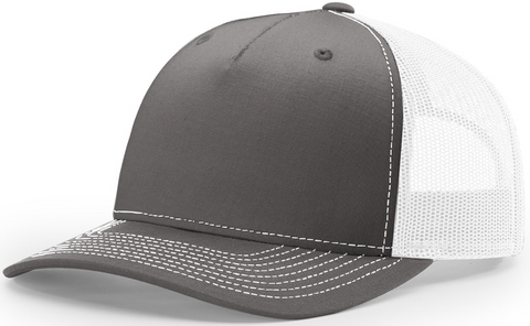 Blank Low Profile 5 Panel Trucker Charcoal White