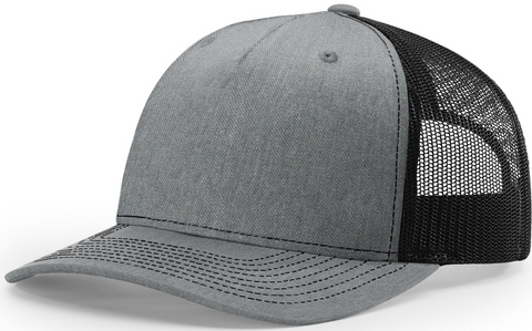 Blank Low Profile 5 Panel Trucker Heather Black