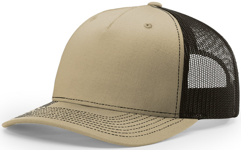 Blank Low Profile 5 Panel Trucker Khaki Coffee