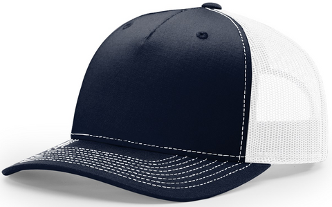 Blank Low Profile 5 Panel Trucker Navy White