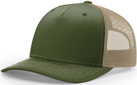Blank Low Profile 5 Panel Trucker Olive Tan