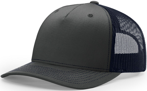 Blank Low Profile 5 Panel Trucker Ombre Blue Navy