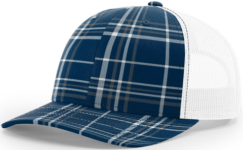 Blank Plaid Printed Trucker Navy Charcoal White