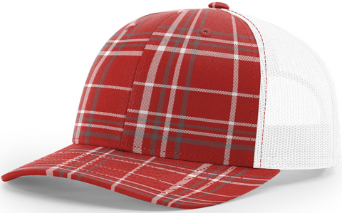 Blank Plaid Printed Trucker Red Charcoal White