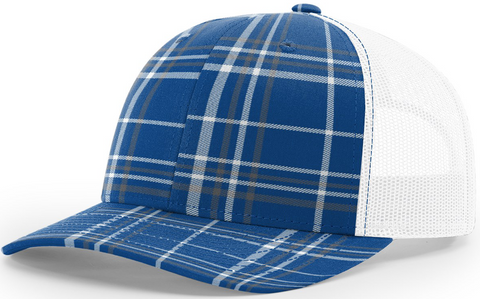 Blank Plaid Printed Trucker Royal Charcoal White