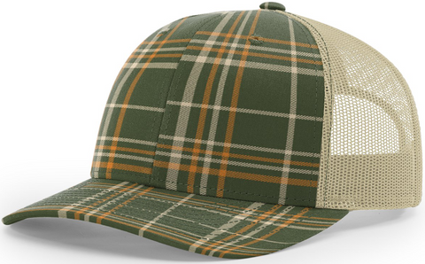Blank Plaid Printed Trucker Thyme Green Toast Khaki