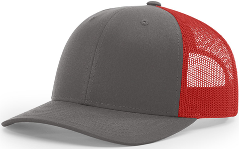 Blank Low Profile Trucker Charcoal Red