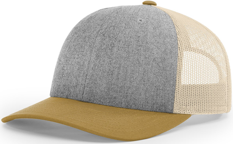 Blank Low Profile Trucker Heather Grey Birch Amber Gold
