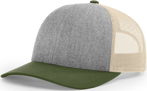 Blank Low Profile Trucker Heather Grey Birch Army Olive