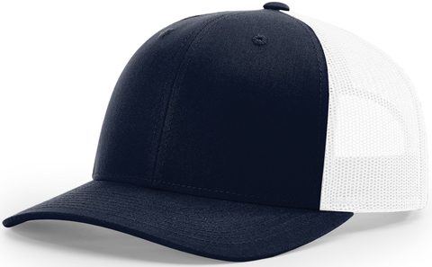 Blank Low Profile Trucker Navy White