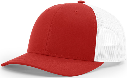Blank Low Profile Trucker Red White