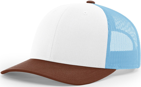 Blank Low Profile Trucker White Columbia Blue Brown