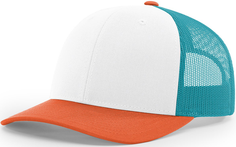 Blank Low Profile Trucker White Hawaiian Blue Pale Orange
