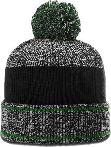 Richardson 148 Heather Cuffed Pom Toque Grey Kelly Green Black