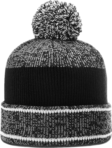 Richardson 148 Heather Cuffed Pom Toque Grey White Black
