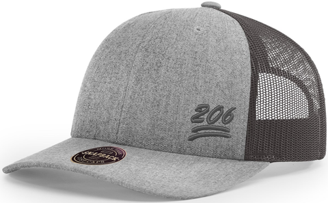 206 Hat Low Profile Trucker Heather Charcoal