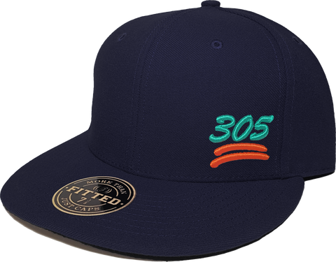 100 Emoji Hat 305 Area Code Fitted Navy