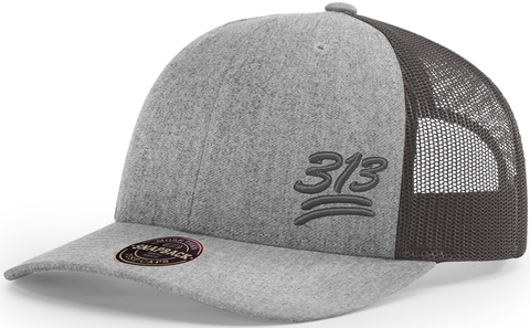 313 Hat Low Profile Trucker Heather Charcoal