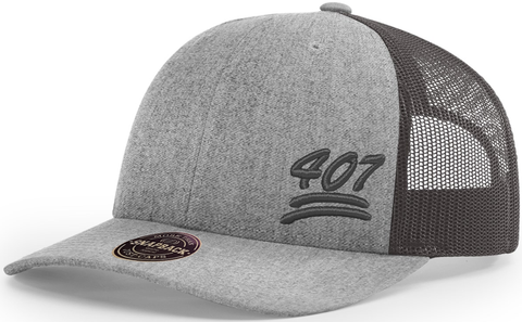 407 Hat Low Profile Trucker Heather Charcoal