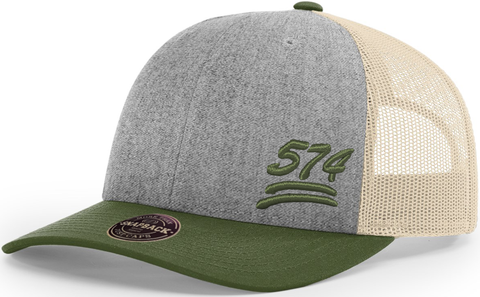 574 Hat Low Profile Trucker Heather Olive