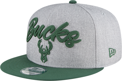 Milwaukee Bucks NBA 9FIFTY Draft Snapback Heather Grey Green