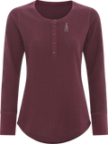 Women's Thermal Long Sleeve Henley Maroon