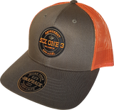 Six One 3 Benchmark Mesh Back Trucker Cap Dark Loden Jaffa Orange