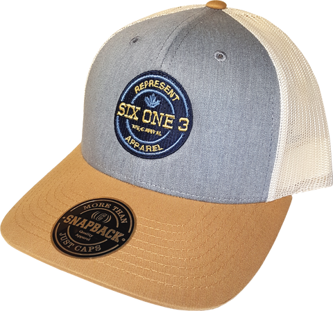 Six One 3 Benchmark Mesh Back Trucker Cap Heather Amber Gold