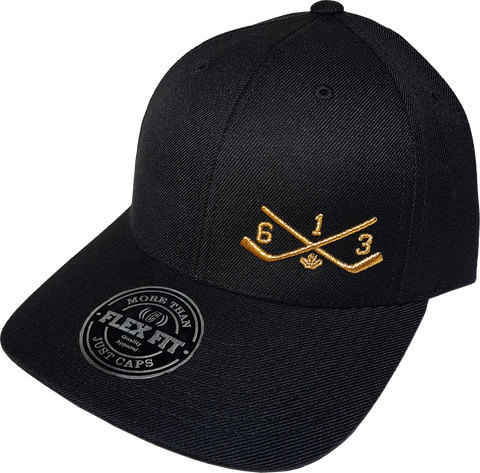 613 FLS Sticks Black & Metallic Gold Flex Fit