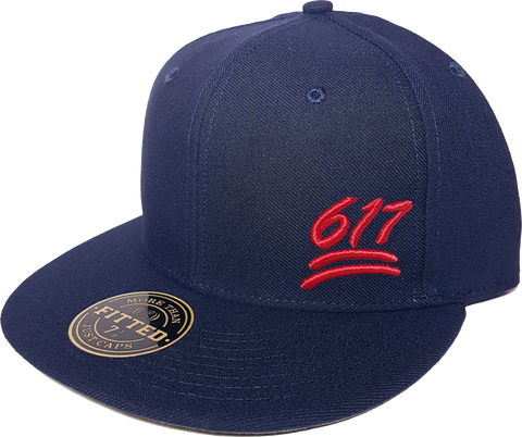 100 Emoji Hat 617 Area Code Fitted Navy