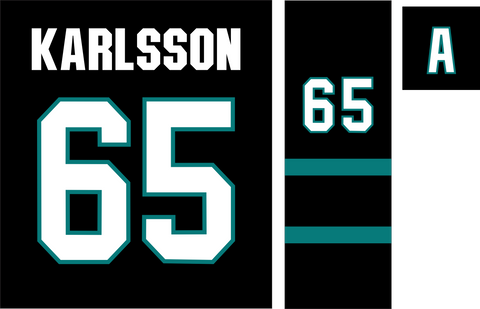 San Jose Sharks Jersey Numbering 65 Karlsson With A