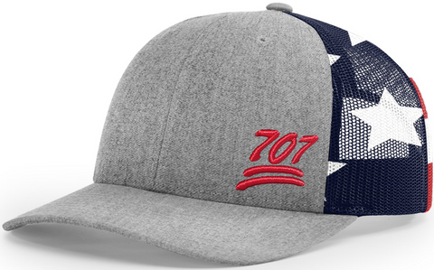 707 Cap Low Profile Printed Stars And Stripes Trucker