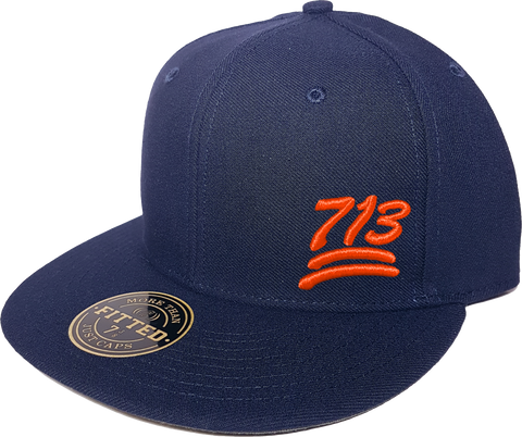 100 Emoji Hat 713 Area Code Fitted Navy