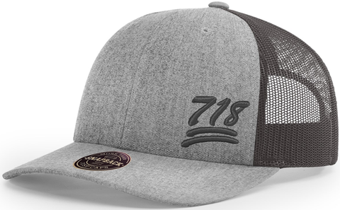 718 Hat Low Profile Trucker Heather Charcoal