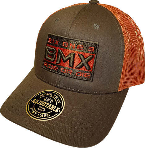 Six One 3 BMX Ride Or Die Mesh Back Trucker Cap Army Green Orange