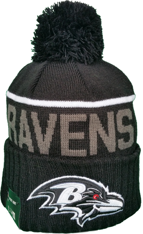 Baltimore Ravens Fleece Lined Black Pom Toque