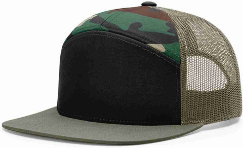 Richardson 7 Panel High Crown Trucker Cap Army Camo Loden Black