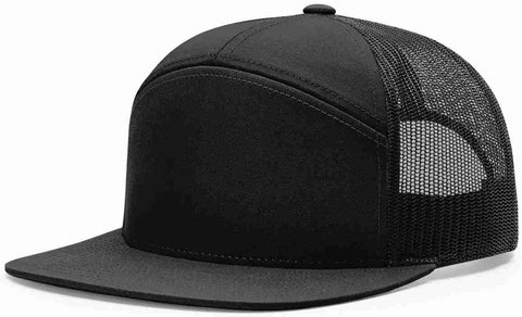Richardson 7 Panel High Crown Trucker Cap Black