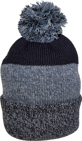 Marled Rib Knit Pom Toque Black Grey
