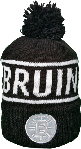 Boston Bruins Mitchell & Ness Black and White Reflective Logo NHL Toque