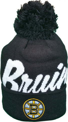 Boston Bruins Mitchell & Ness Graffiti Script NHL Pom Toque