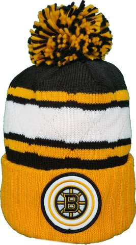 Boston Bruins Mitchell & Ness High Five NHL Pom Toque