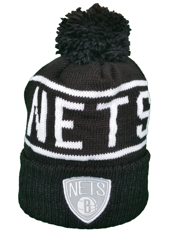 Brooklyn Nets Mitchell & Ness Black and White Reflective Logo NBA Toque
