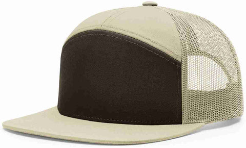 Richardson 7 Panel High Crown Trucker Cap Brown Khaki