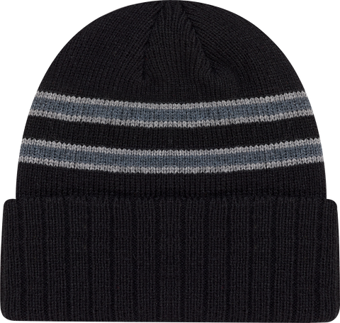 Cable Knit Beanie Toque Black Grey
