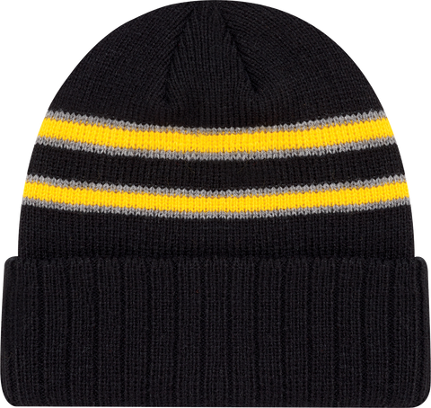 Cable Knit Beanie Toque Black Gold