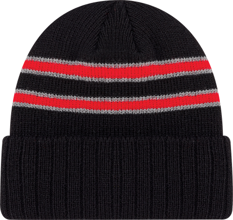 Cable Knit Beanie Toque Black Red