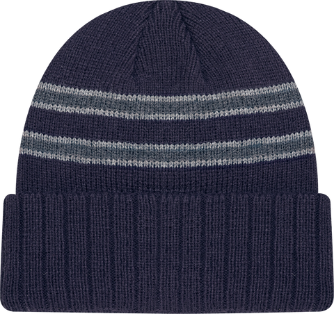 Cable Knit Beanie Toque Navy Grey