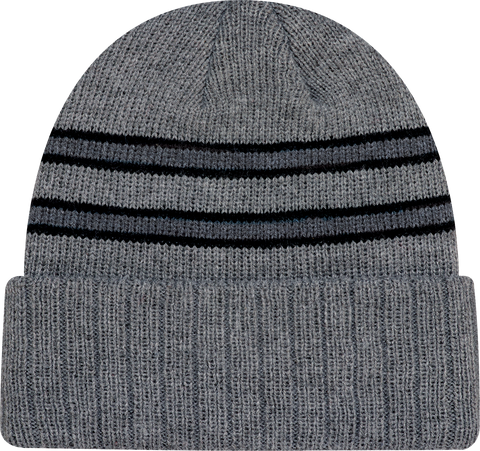 Cable Knit Beanie Toque Grey Black